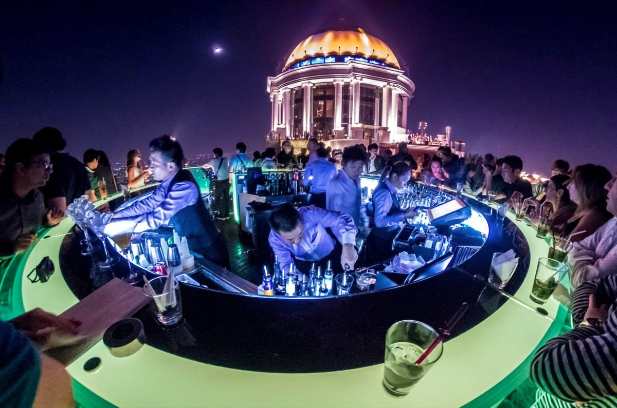 Sky Bar in Bangkok, on the roof of 63-storey building