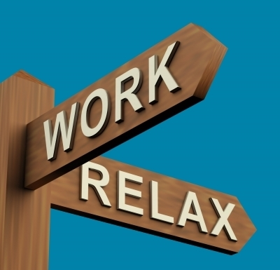 Signpost with Work and Relax indications