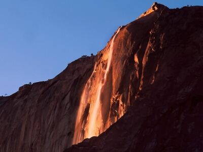 Fiery Waterfall of Yosemite National Park